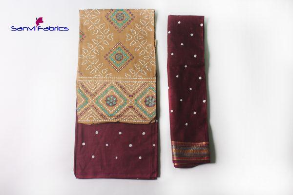 Buy Hand Pigment Bandhani Print Dress Materials Online - SANVI0004