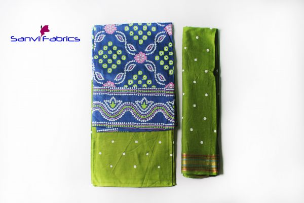 Buy Hand Pigment Bandhani Print Dress Materials Online-SANVI0010