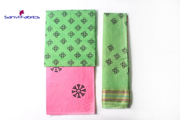 Satin Block Print Dress Material-SANVI0021