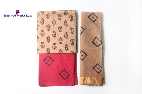 Satin Block Print Dress Material-SANVI0022