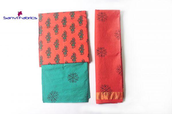 Satin Block Print Dress Material
