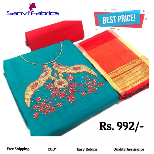 Sanvi Fabrics Green Pure Salub Cotton Dress Material