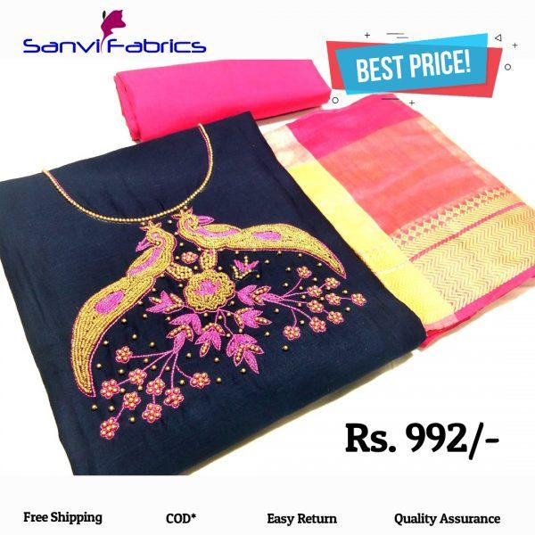 Sanvi Fabrics Navy Blue Color Pure Salub Cotton Dress Material