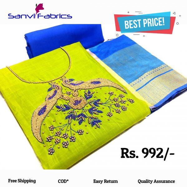 Sanvi Fabrics Parrot Color Pure Salub Cotton Dress Material