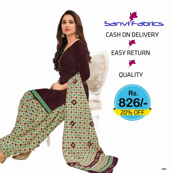 Sanvi Fabrics Patiala Suits Dress - 1424
