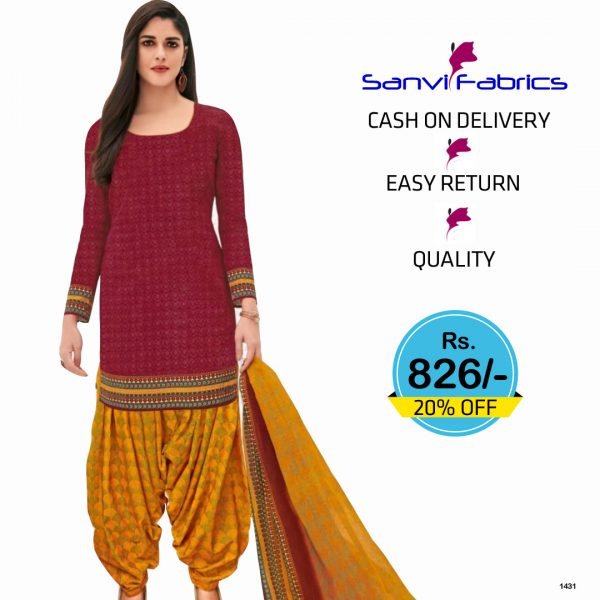Sanvi Fabrics Readymade Dress - Red Top and Green Bottom - 1430A